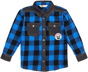 Petit Lem Denim-Trimmed Plaid Shirt w/ Rock-&-Roll Patches, Size 2-6X