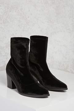 Forever 21 Velvet Chunky Heel Boots