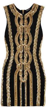 Balmain Embellished Stretch-jersey Mini Dress - Black