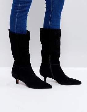Asos CARLITA Suede Kitten Heel Knee Boots