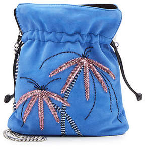 Les Petits Joueurs Trilly Palms Embellished Suede Pouch