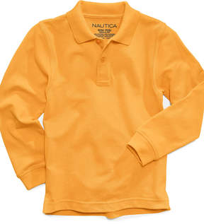 Nautica Long-Sleeve Uniform Polo, Big Boys Husky (8-20)
