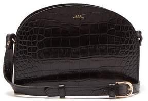 A.P.C. Half Moon Crocodile Effect Leather Cross Body Bag - Womens - Black