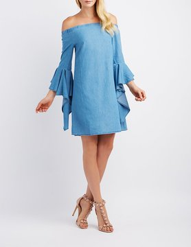 Charlotte Russe Chambray Off-The-Shoulder Cascade Sleeve Dress