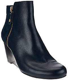 Isaac Mizrahi Live! Leather & Suede WedgeAnkle Boots