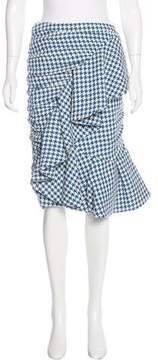 Stella Jean Houndstooth Ruffle-Trimmed Skirt