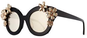 Alice + Olivia Madison Floral Swarovski®; Cat-Eye Sunglasses, Black