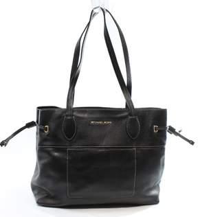 Michael Kors Black Pebble Leather Mae Drawstring Tote Bag Purse - BLACKS - STYLE