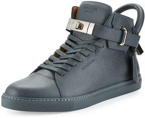 Buscemi 100mm Men's Leather High-Top Sneaker, Dark Gray
