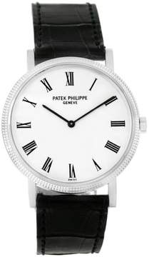 Patek Philippe Calatrava 5120 18K White Gold & Leather Automatic 35mm Mens Watch