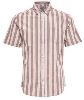 ONLY & SONS Striped Cotton Poplin Button-Down Shirt