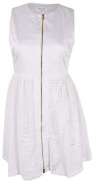 Calvin Klein Women's Sleeveless Zip-Front A-Line Eyelet Dress (White, 14)