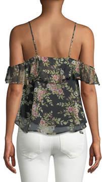 Astr Cold-Shoulder Floral Ruffle Blouse