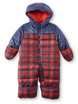 Carter's Infant Boy Red Plaid Quilted Snowsuit Baby Pram Snow Suit 3-6m