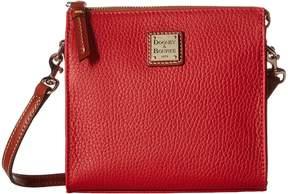 Dooney & Bourke Pebble North/South Janine Crossbody Cross Body Handbags - RED/TAN TRIM - STYLE
