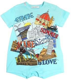 Dolce & Gabbana Summer City Print Cotton Jersey Romper
