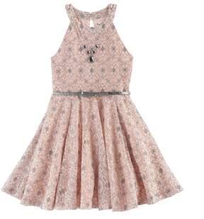 Knitworks Girls 7-16 Pattern Belted Skater Dress