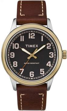 Timex Men's New England Black Dial Watch, Brown Leather Strap