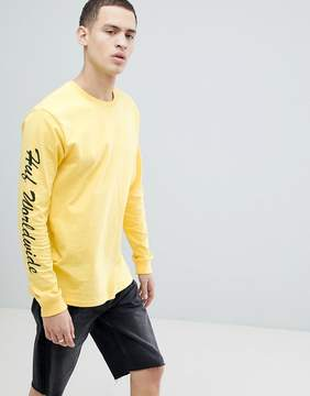 HUF x Felix The Cat Long Sleeve T-Shirt With Back Print In Yellow
