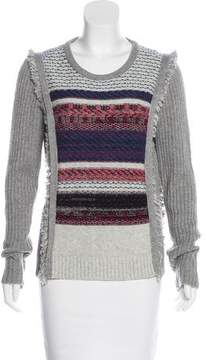 White + Warren Patterned Fringe-Trimmed Sweater