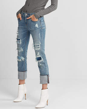Express Mid Rise Distressed Stretch+ Performance Cropped Skinny Jeans