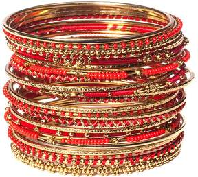 Amrita Singh Red & Goldtone Meenal Bangle Set