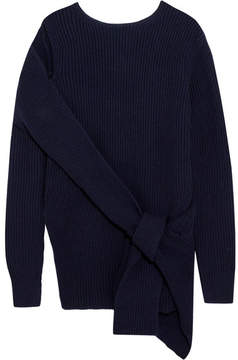 3.1 Phillip Lim Draped Ribbed Wool And Yak-blend Sweater - Navy