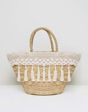 South Beach Cream Tassel & Crochet Straw Bag