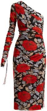 Diane von Furstenberg Boswell floral-print one-shoulder mesh dress