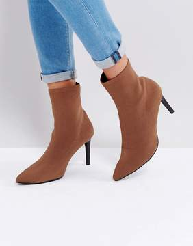 Sol Sana Ezra Fawn Stretch Pull On Heeled Ankle Boots