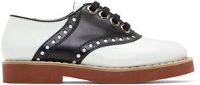 Miu Miu Black and White Bicolor Saddle Shoes