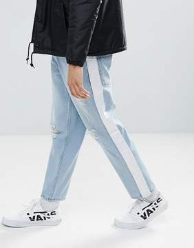 Asos Skater Jeans In Light Wash With Abrasions And Side Stripe