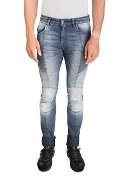 Pierre Balmain Men's Skinny Fit Biker Denim Jeans Pants Blue.