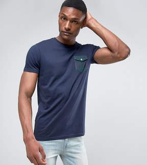 Brave Soul TALL Printed Check Flap Pocket T-Shirt