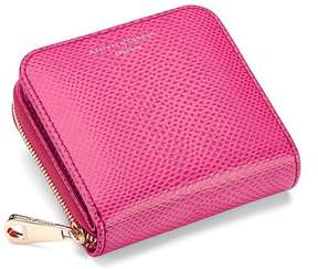 Aspinal of London Mini Continental Zipped Coin Purse In Raspberry Lizard