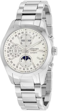 Longines Conquest Classic Silver Dial Chronograph Stainless Steel Men's Watch