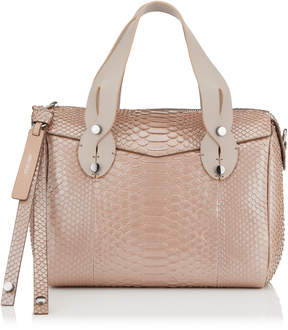 Jimmy Choo ALLIE Ballet Pink Glossy Pearlised Python Bowling Bag