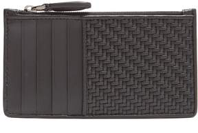 Ermenegildo Zegna Woven and smooth-leather cardholder