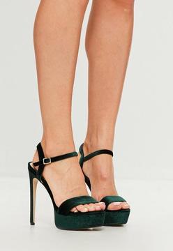Missguided Green Velvet Two Strap Platform Sandals