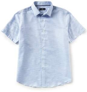 Hart Schaffner Marx Short-Sleeve Horizontal Stripe Dobby Sportshirt