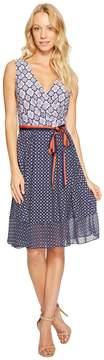 Donna Morgan Wrap Front Dress with Combo Peplum Skirt Women's Dress