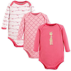 Luvable Friends Pink & White Girly Giraffe Bodysuit Set - Newborn & Infant