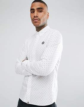 Pretty Green Long Sleeve Polka Dot Shirt In White