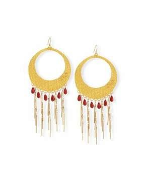 Devon Leigh Coral Statement Hoop Earrings