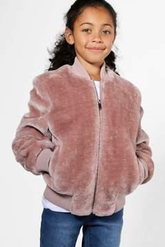 boohoo Girls Faux Fur Bomber Jacket