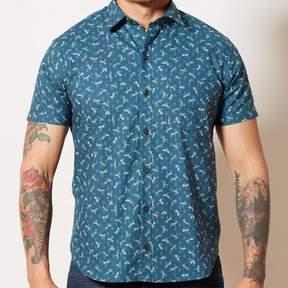 Blade + Blue Teal Blue Japanese Dragonfly Print Shirt - JONATHAN