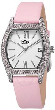 Burgi White Dial Ladies Ladies Pink Leather Watch