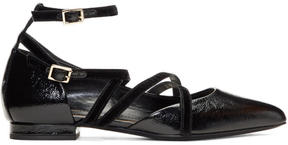 Lanvin Black Lace-Up Ballerina Flats