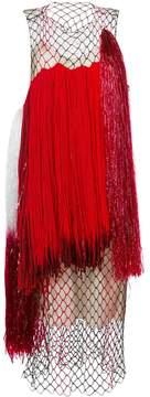 Calvin Klein fringed netted midi dress