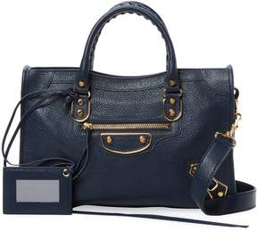 Balenciaga Women's Classic Metallic Edge City Small Leather Satchel